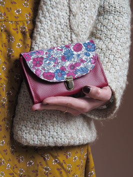 Porte monnaie Lulu bordeaux fleurs