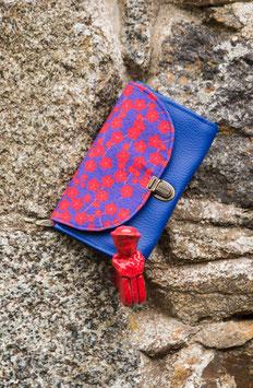 Porte monnaie Yoko bleu et rouge fleurs