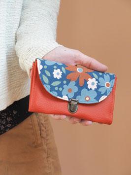 Porte monnaie Valentine rouille bleu fleurs