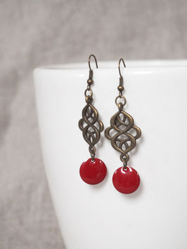 Boucles d'oreilles arabesques rouges