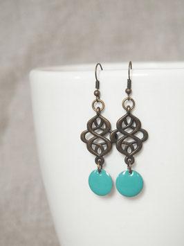 Boucles d'oreilles arabesques turquoises