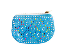 BEADED COIN PURSE - Blue