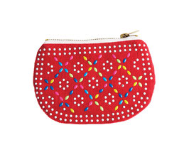 BEADED COIN PURSE - Red