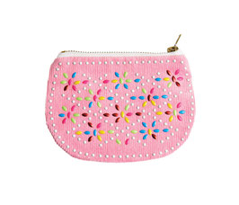 BEADED COIN PURSE - Pink