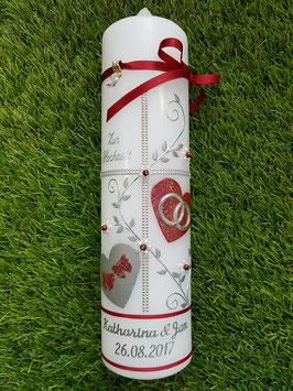 Hochzeitskerze HK109-1 Bordeaux Holoflitter mit Silber / Perlblüten