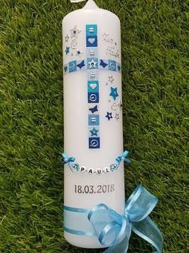Mosaik Tauf- Kommunionkerze KK098 / Hellblau-Lichtblau-Türkis-Dunkelblau-Silber