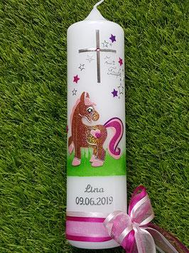 Taufkerze Pony TK264 Braun-Rosa-Pink-Brombeerlila Holoflitter / Silberschrift