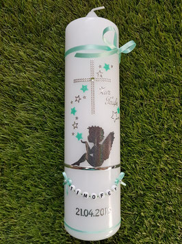 Taufkerze SK154-1 SCHUTZENGEL sitzend mit Sterne in Mintgrün-Anthrazit Holoflitter & Schmale Bänder