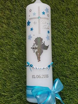 Taufkerze SK154-6 SCHUTZENGEL fliegend Anthrazit-Hellblau-Türkis Holoflitter / Buchstabenkette