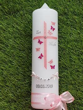 Taufkerze Regenbogen Schmetterlinge TK190 Rosa-Pink Holoflitter