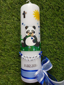 Taufkerze TK196 Panda Junge Schwarz-Weiß-DunkelblauHoloflitter & Buchstabenkette / Gras Grasgrün Holoflitter