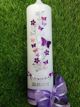 Taufkerze TK089 Schmetterlings- Blumenranke Brombeerlila-Flieder-Rosa-Pink-Altrosa Holoflitter