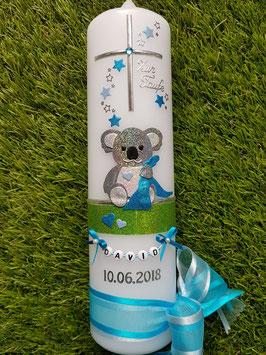 """Taufkerze """"Koala"""" TK217 Türkis-Hellblau-Apfelgrün Holoflitter / Buchstabenkette"""
