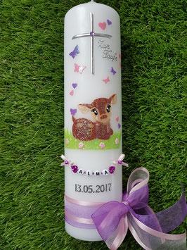 Taufkerze Bambi liegend TK188-2 Braun-Rosa-Flieder Holoflitter mit Buchstabenkette©
