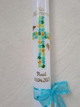 Kommunionkerze KK060 Kreuz Hände Gottes / Pastellblau-Gelb-Apfelgrün-Grasgrün-Pastellgrün Holoflitter / Gold