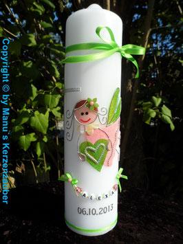 Taufkerze SK116 Schutzengel Mädchen Apfelgrün-Rosa Flitter