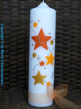 Taufkerze od. Kerze für Sternenkinder KSK300 Orange-Gelb