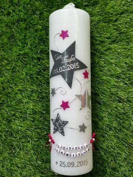 Taufkerze od. Kerze für Sternenkinder KSK300 Silber-Grau-Pink Holoflitter