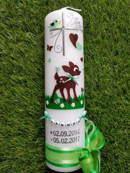Taufkerze Bambi TK188 Braun-Mint-Grasgrün Flitter Buchstabenkette©