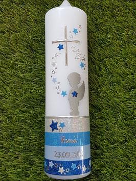 Taufkerze Schutzengel mit Bambi TK152-a-U mit Untergrund / Silber-Lichtblau-Hellblau-Dunkelblau Holoflitter