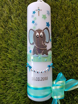 Taufkerze Elefant TK210-8 Anthrazit-Türkis-Mintgrün-Hellblau Holoflitter / Schleife Türkis-Mint