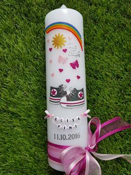 Taufkerze TK099-1 Babychucks Pink-Rosa-Anthrazit Holoflitter / Regenbogen