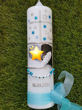 Taufkerze Kreuz & Foto TK100-1 Türkis-Hellblau-Silber Holoflitter