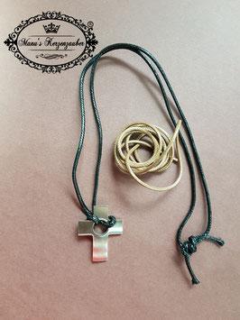 Halskette Kreuz mit Wechselbänder