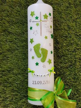 Taufkerze TK096 Große Füsschen Apfelgrün-Grasgrün Holoflitter mit Silber