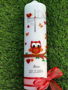 Taufkerze EULE Das Original mit Silberschrift TK180 Rot-Orange Holoflitter