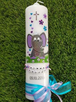 Taufkerze Elefant TK210-8 mit Krone / Anthrazit-Flieder-Türkis-Brombeerlila Holoflitter