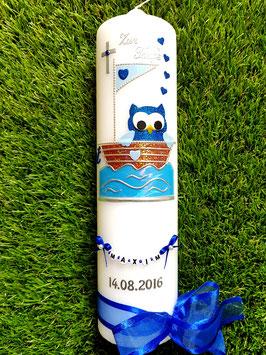 Taufkerze EULE im Boot & Kette TK179 Dunkelblau-Hellblau Flitter