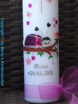 Taufkerze Marienkäfer TK187 Pink