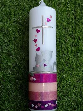 Taufkerze Silhouetten Katzen TK149-U Pink-Zartrosa-Altrosa-Brombeerlila Holoflitter mit Herzen