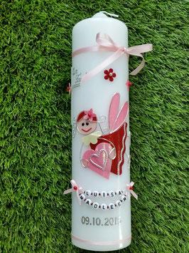 Taufkerze SK116 Schutzengel Mädchen Rosa-Rot Flitter mit Blüten