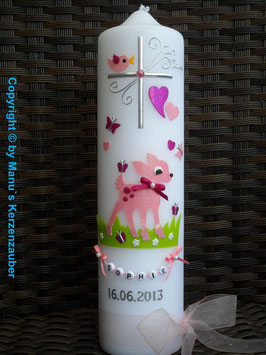 Taufkerze Bambi TK188 Rosa-Pink Holoflitter mit Buchstabenkette©