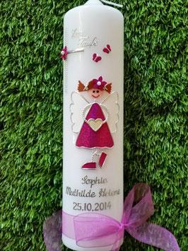 Taufkerze Schutzengelkerze SK121 Pink Flitter mit Zöpfen