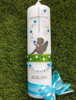 Taufkerze SK154-1 SCHUTZENGEL sitzend mit Sterne Anthrazit-Türkis Holoflitter