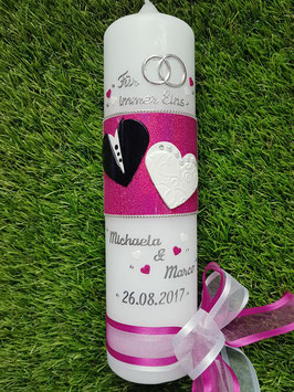 Hochzeitskerze HK115 Wir Heiraten in Weiß- Schwarz-Pink Holoflitter
