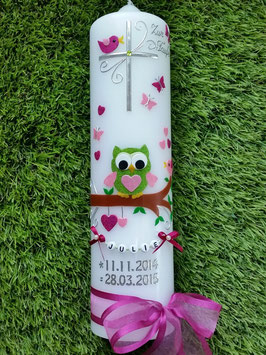 Taufkerze EULE das Original TK181 Apfelgrün-Pink-Rosa Holoflitter