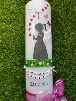 Taufkerze SK154-3 SCHUTZENGEL Mädchen stehend  Pink-Rosa Holoflitter / 3D Flügel