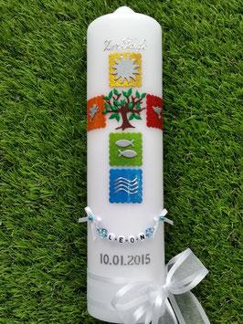 Kommunionkerze Konfirmationskerze Taufkerze KK276 in Regenbogen Farben