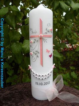 Taufkerze TK132 Schmetterlinge in Rosa-Pink-Silber