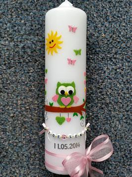 Taufkerze EULE das Original TK180  in Apfelgrün-Rosa Flitter mit Sonne