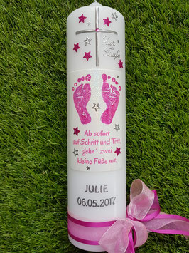 Taufkerze TK095-1 Große Füsschen Pink-Rosa