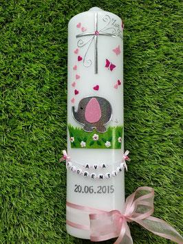 Taufkerze Elefant TK210-1 & Buchstabenkette Anthrazit-Rosa-Pink Flitter