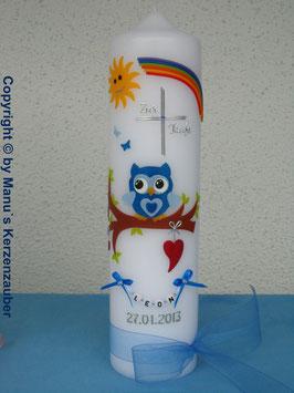 Taufkerze EULE mit Regenbogen & Kette TK181 Dunkelblau-Hellblau Flitter