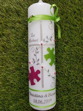 Hochzeitskerze HK109-3 Puzzle! Apfelgrün-Pink Holoflitter mit Silber