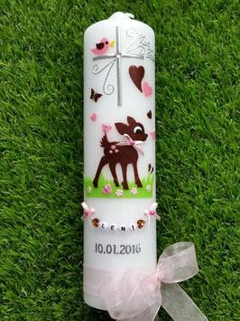 Taufkerze Bambi TK188 Braun-Rosa Holoflitter mit Buchstabenkette©