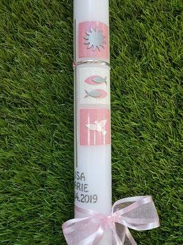 Kommunionkerze oder Konfirmationskerze KK300 Rosa-Pink Holoflitter